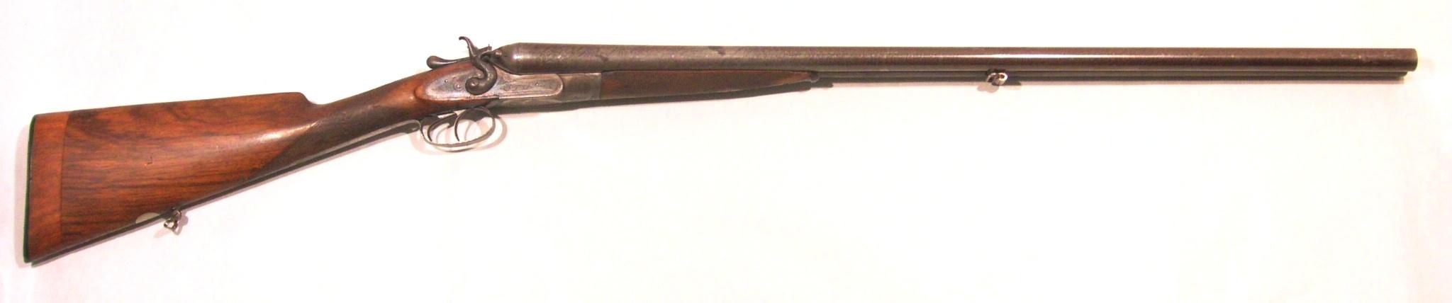 Escopeta JV NEEDHAM, modelo HAMMER DAMASCUS BARREL, calibre 12, nº 6529-0