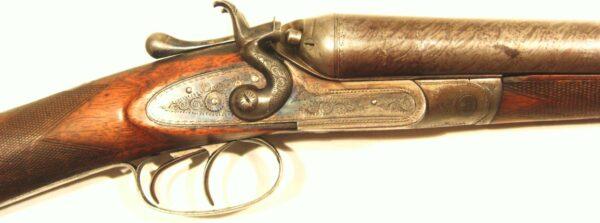 Escopeta JV NEEDHAM, modelo HAMMER DAMASCUS BARREL, calibre 12, nº 6529-381