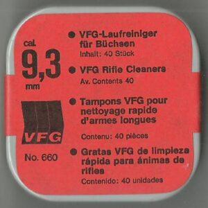 Tampones limpiadores VFG, calibre 9,3, 375-0