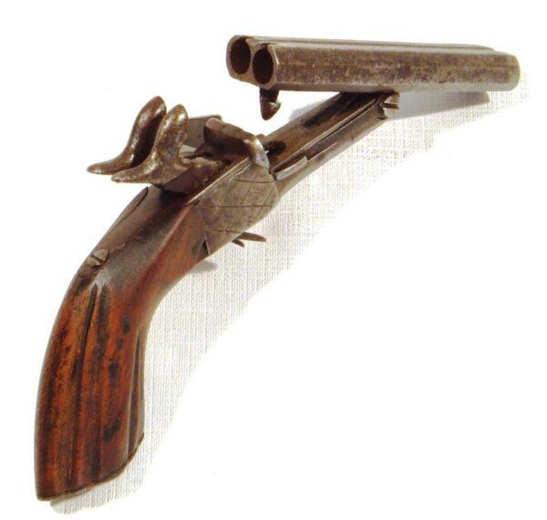Pistola SIN MARCA, modelo de 2 cañones basculantes, calibre 7 mm., nº 72-1589