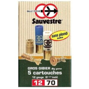 Cartuchos SAUVESTRE, bala FLECHE LEAD FREE BFS, calibre 12/70/24-0