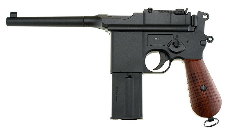 Pistola KWC, modelo 712 BROOMHANDLE, calibre 4,5BB, CO2, Full metal-0