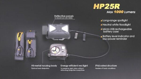 Frontal FENIX, modelo HP25R, 1000 lumenes-3739