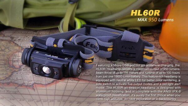 Frontal FENIX, modelo HL60R, 950 lumenes, 5 modos mas luz roja-0