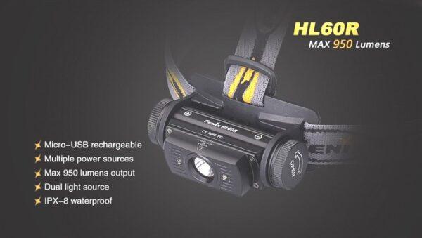 Frontal FENIX, modelo HL60R, 950 lumenes, 5 modos mas luz roja-3737