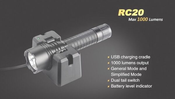 Linternas FENIX, modelo RC20, recargable,1000 lumenes, 4 modos mas estrobo-3746
