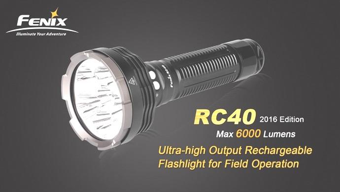 Linterna FENIX, modelo RC40 Edicion 2016, 6000 lumenes, 6 modos, estrobo, sos.-0