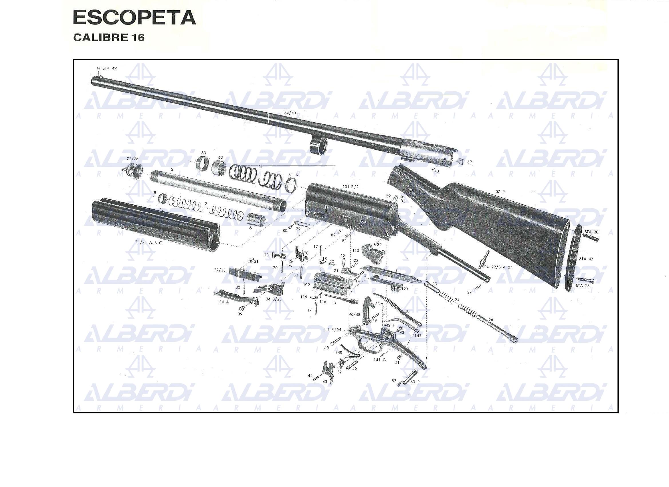Piezas recambio escopeta FNBROWNING modelo AUTO5 calibre 16