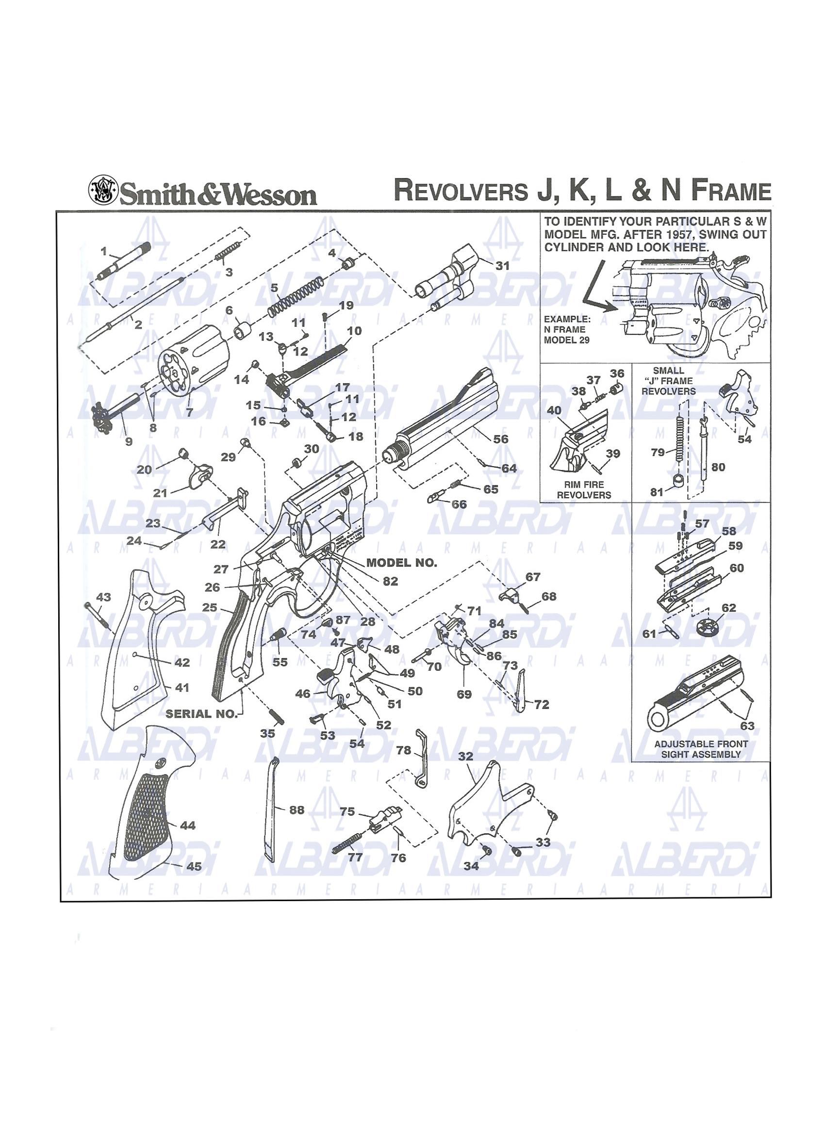 Piezas y conjuntos de recambios revolver SMITH-WESSON modelo 37
